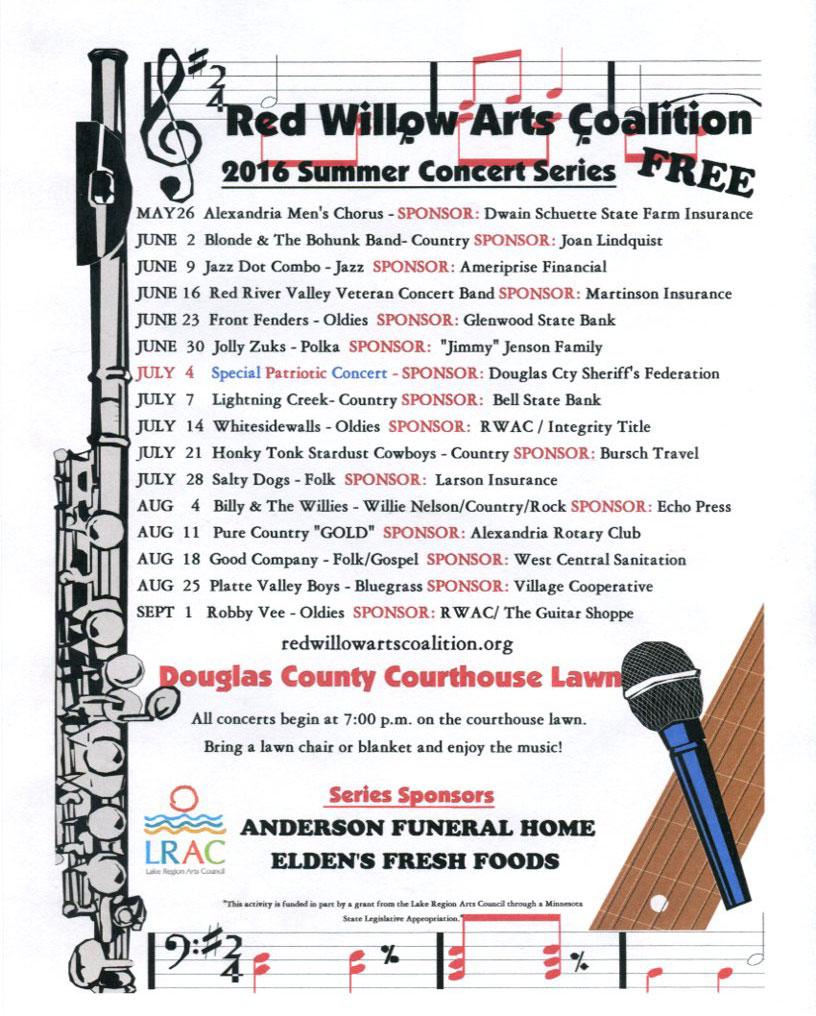 2016 concert schedule alexandria mn
